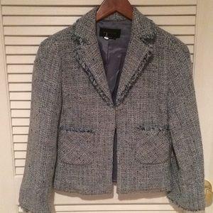 Cropped jacket with fringe detail at sleeve